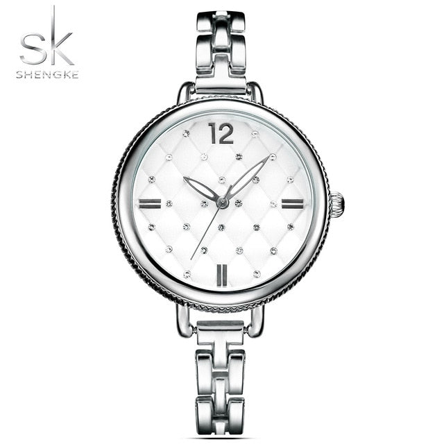 Shengke Brand Quartz Wrist Watches Fashion Watches Women Casual Dress Luxury Gold Ladies Rhinestone Waterproof Reloj Mujer 2017