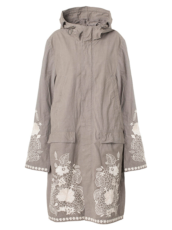 LONG GREY FLOWER PARKA