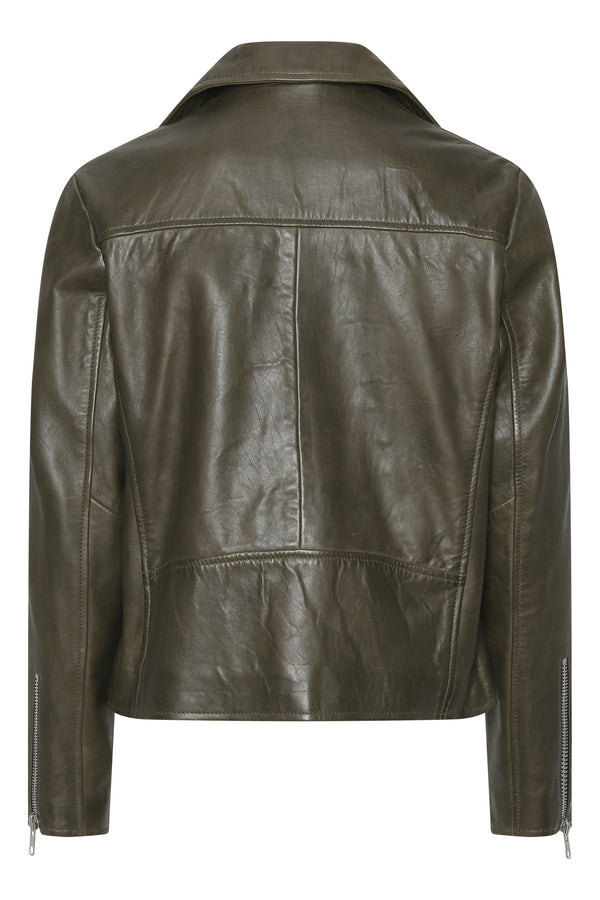 Frida vegetal leather jacket - dark green