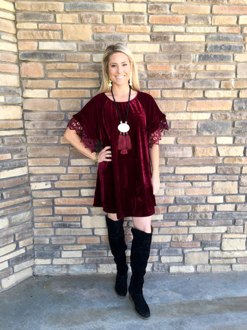 Seraphina Lace Sleeve Velvet Dress