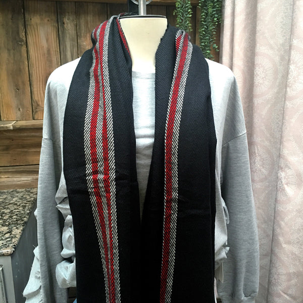 Black & Red Rectangle Shawl