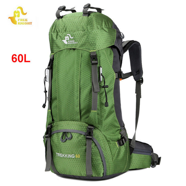 FREE KNIGHT 60L Camping Hiking Backpacks Bag Nylon Outdoor Travel Bags Backpacks Tactical Sport Climbing Bag with Rain Cover 50L