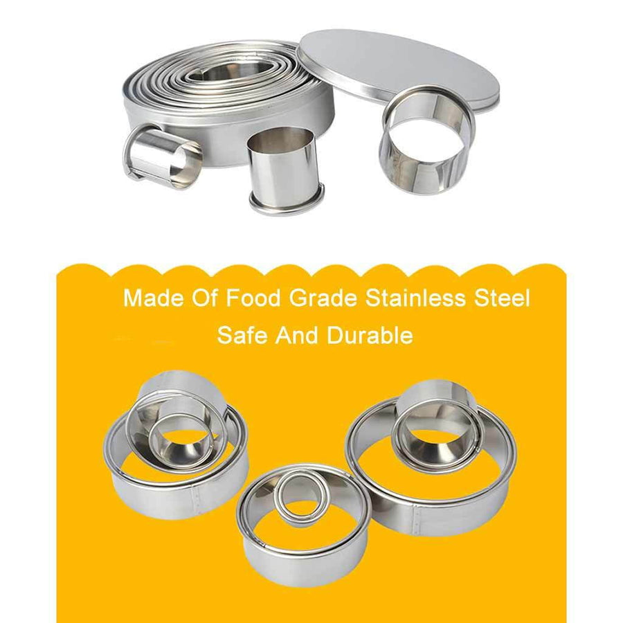 14 Pcs Stainless Steel Mousse Rings Set