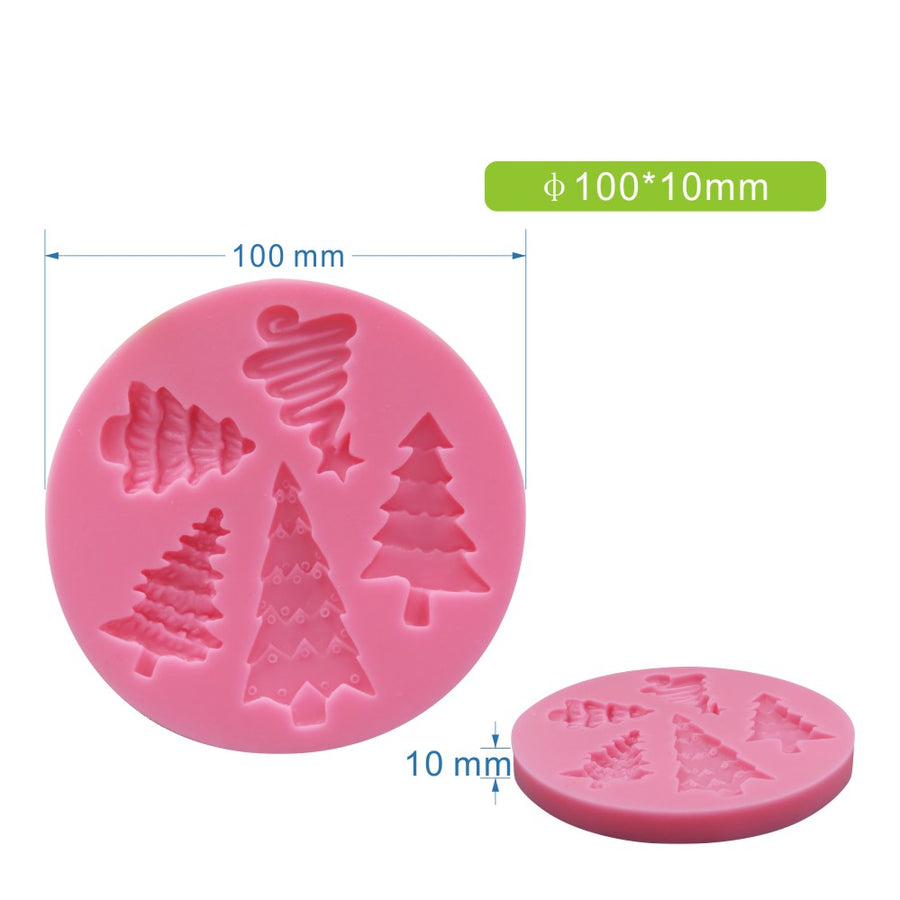 Five Shape Christmas Trees Mold silicone cake decorating