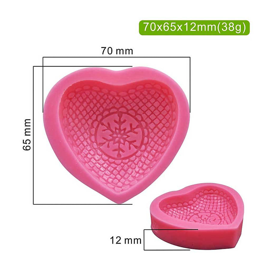 3D Snowflake Heart Mold silicone cake decorating