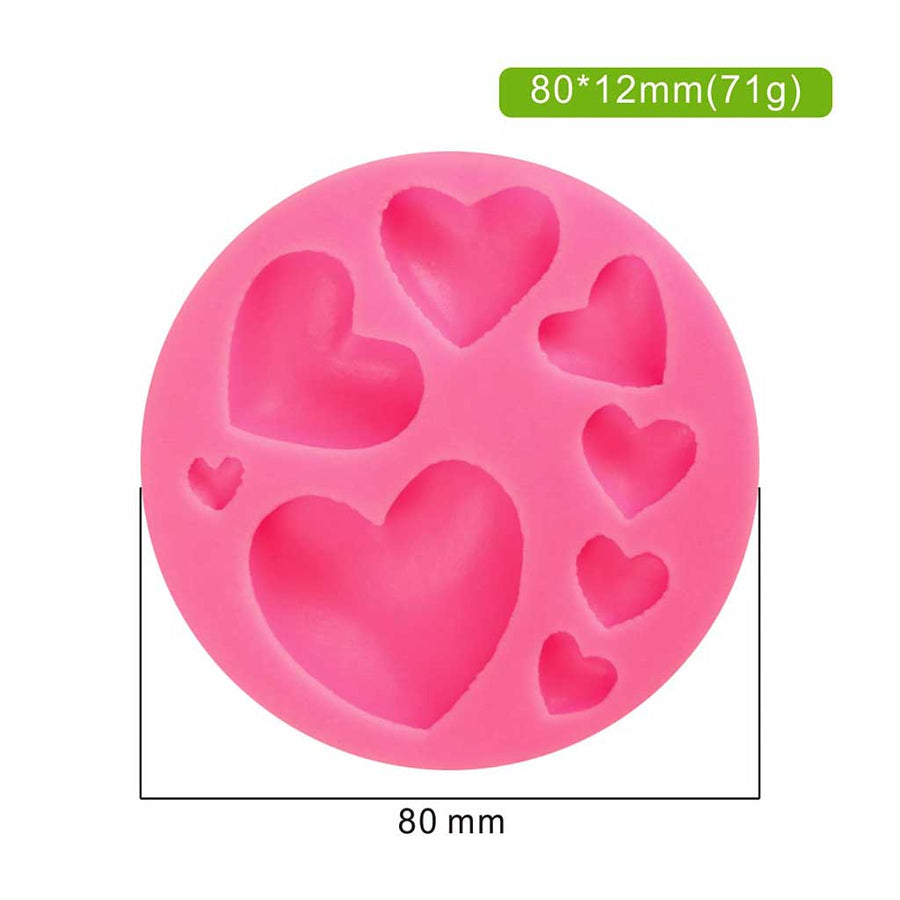 Eight 3D Heart Set Silicone Mold cake decorating