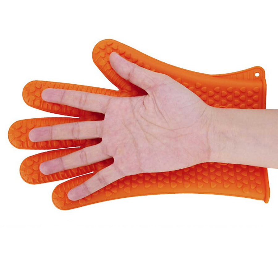 Green, Orange, Red And Blue Silicone Heat Resistant Oven Glove
