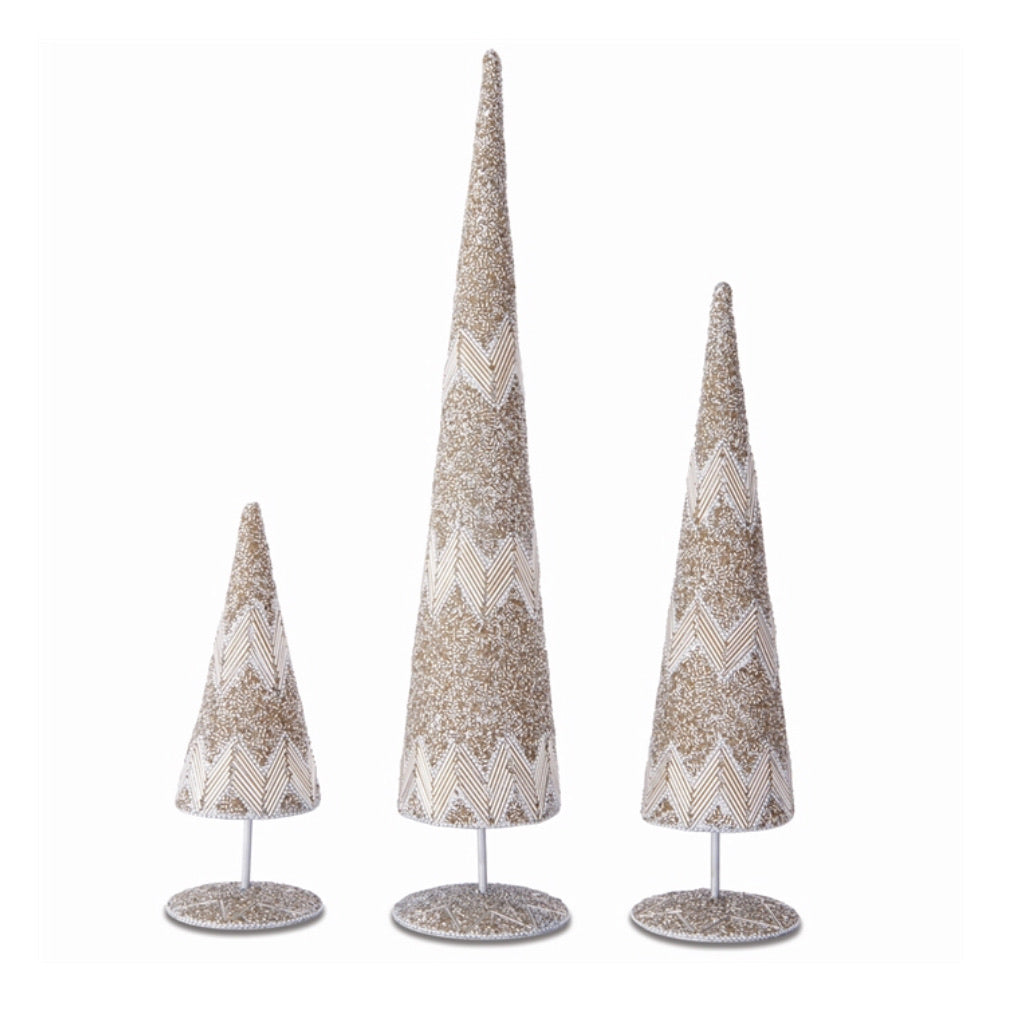 Platinum Beaded Table Trees S/3