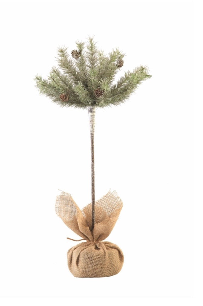 "Vintage Glitter Pine Topiary 25"" H"