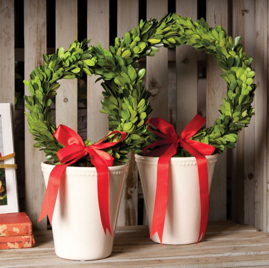 Boxwood Wreath $ Red Ribbon in White Pot