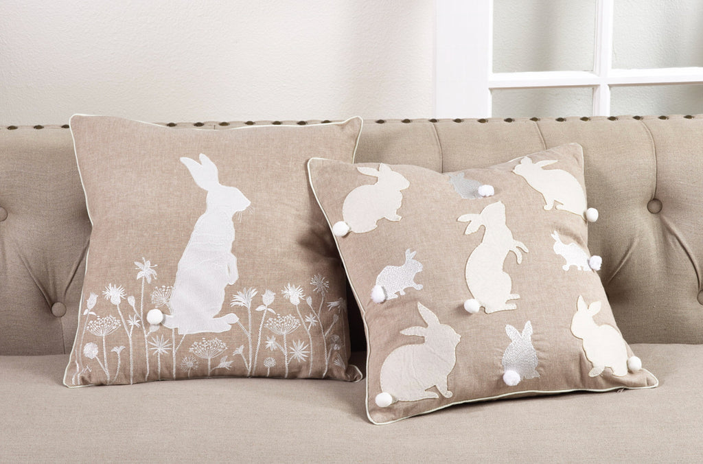 Embroidered Multiple Bunny Pillow