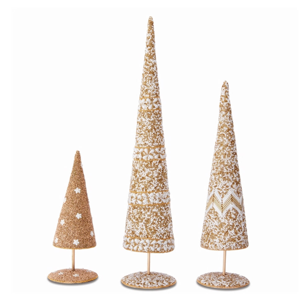 Gold Beaded Trees S/3