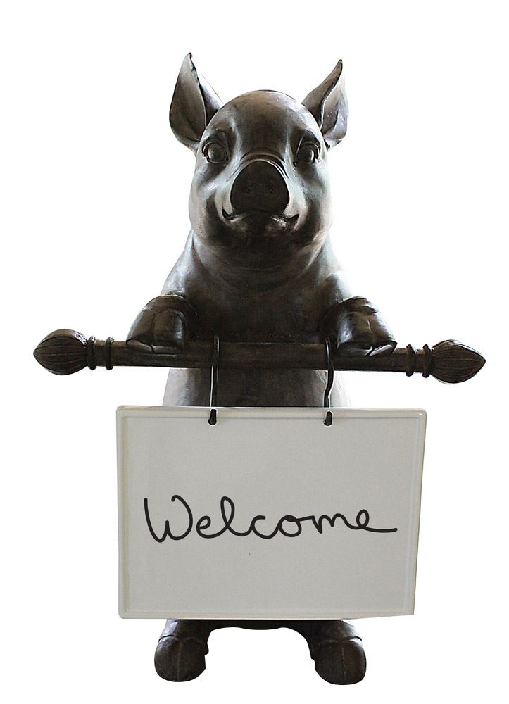 Resin Pig w/ Ceramic Message Board