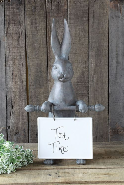 Resin Hare w/ Ceramic Message Board
