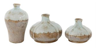 Round Terra-cotta Vases - Set of 3