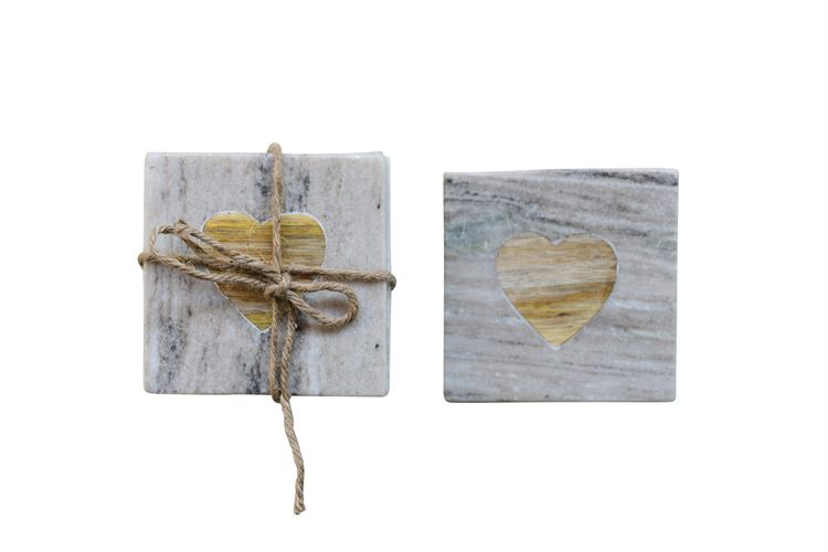 Marble Coasters w/ Acacia Wood Heart Inset Set of 4