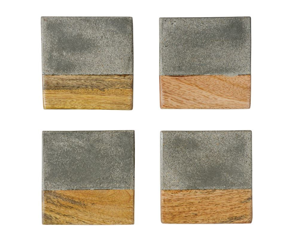 "4"" Square Cement & Wood Coasters"