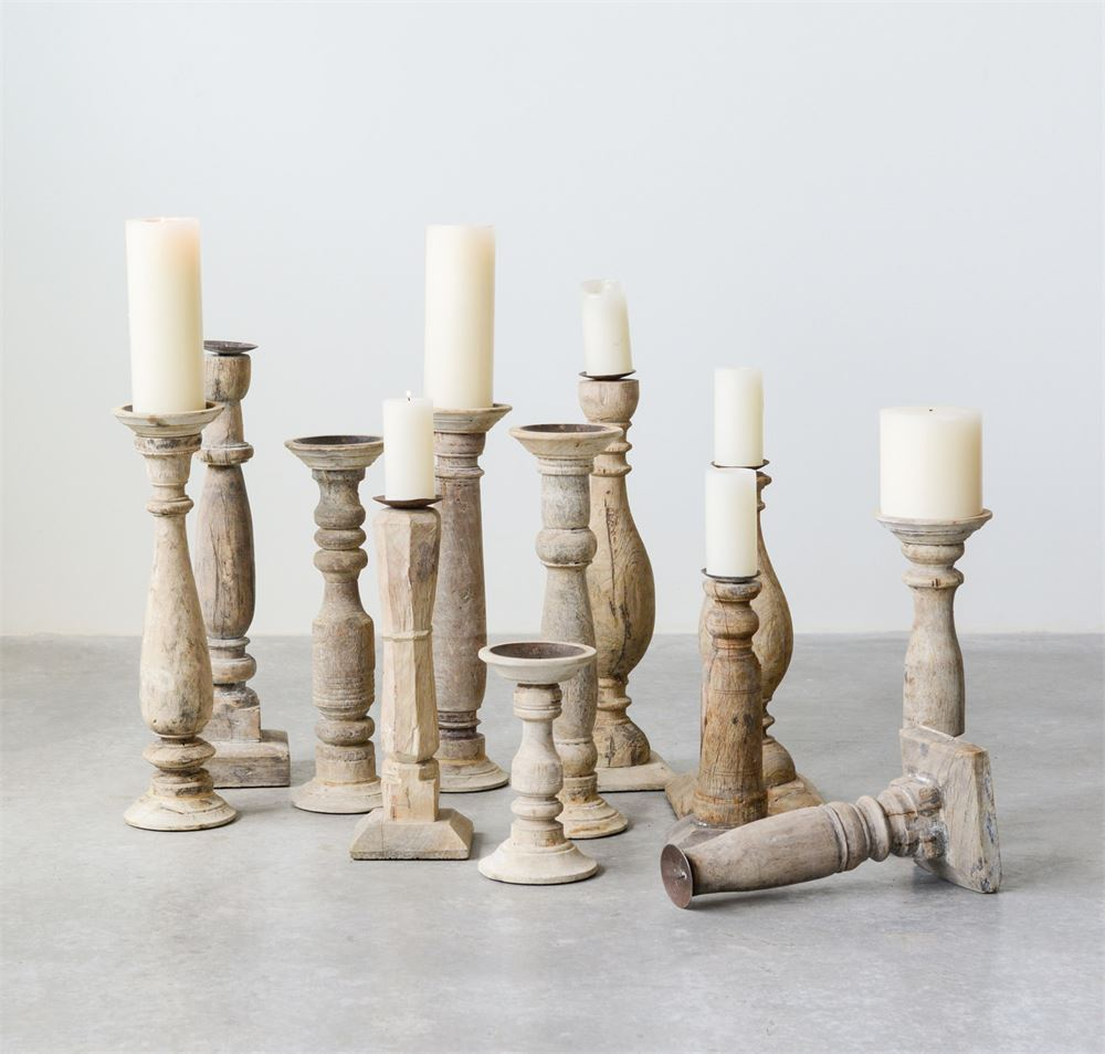Found Wood & Metal Candle Holders, Set of 6