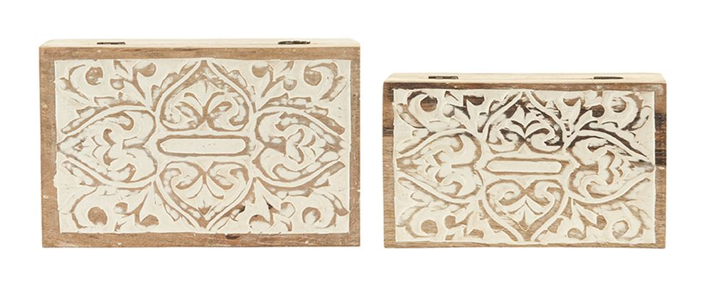 Hand-Carved Mango Wood Boxes Set of 2
