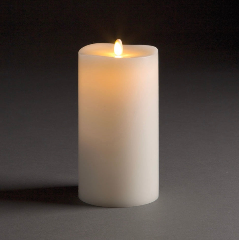 Ivory Moving Flame Indoor Pillar 4x7