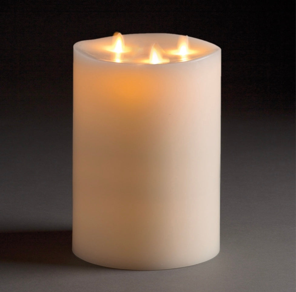 Ivory Moving Flame Indoor Tri-Flame Pillar 6x10