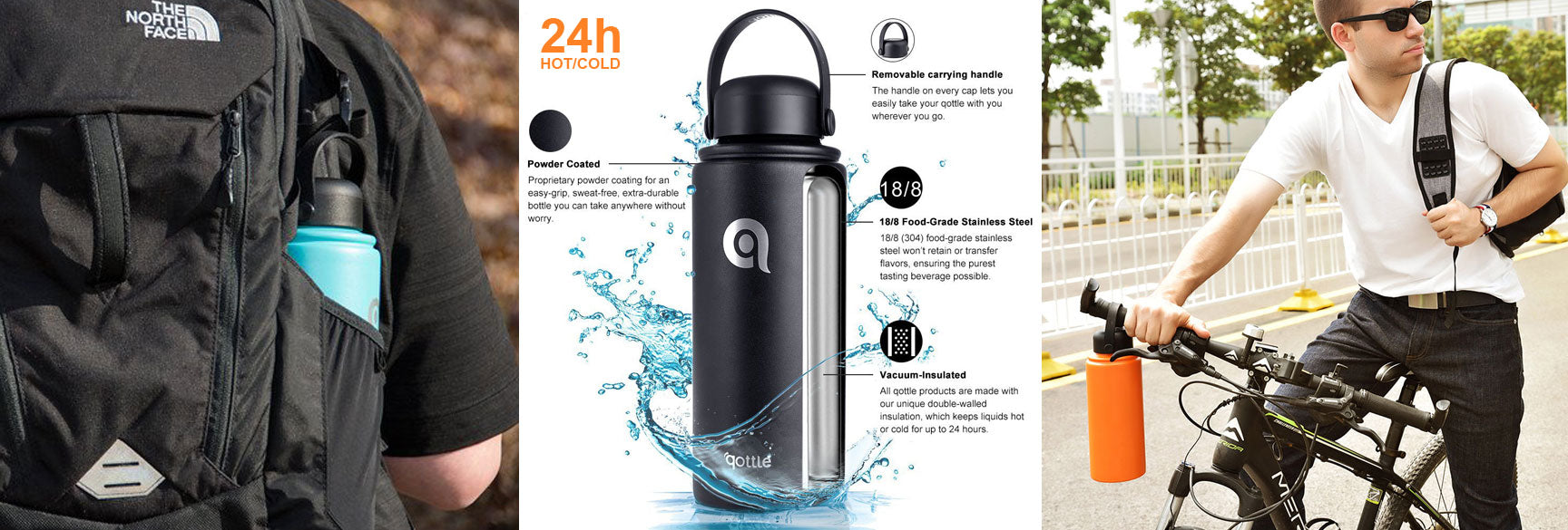 qottle Vacuum Insulated Water Bottle