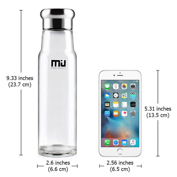 Miucolor water bottle with stainless steel infuser