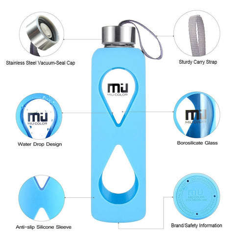 no plastic miucolor water bottle