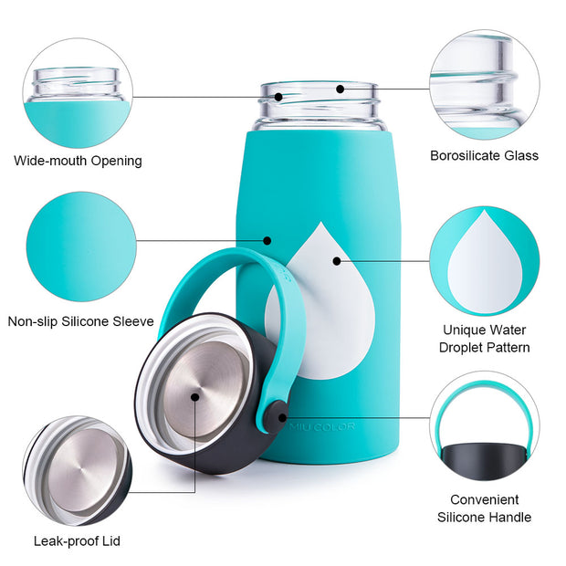 miucolor water bottle with non-slip silicone sleeve
