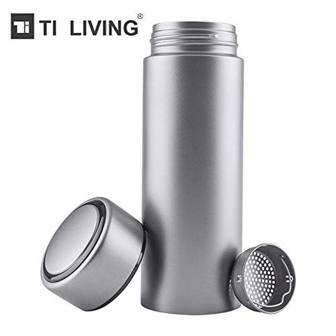 Tiliving Titanium Thermos Water Bottle with Tea Leaf