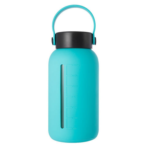 Glass Water Bottle with Wide Mouth and Silicone Sleeve (30oz)