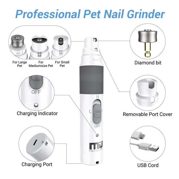 Grey Rechargeable Electric Pet Nail Grinder