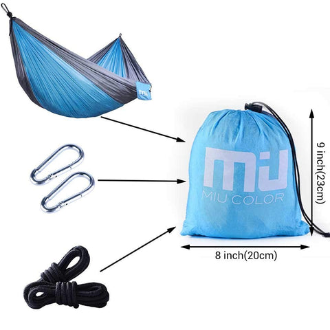 Lightweight Portable Nylon Camping Hammock - Blue