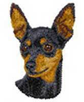 Miniature Pinscher, Black, Unclipped (D22) Embroidered Hat