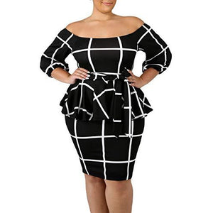 Checkered Off Shoulder Peplum Dress