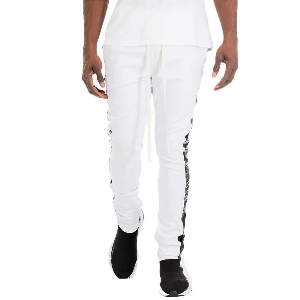 White Leather Striped Track Pants
