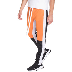 Grey Orange Colorblock Track Pants