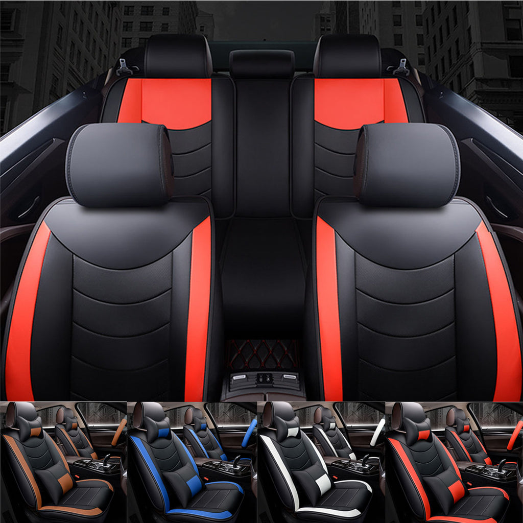 8Pcs PU Leather Car Full Seat Cover Cushion Set Universal
