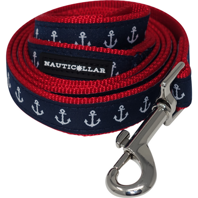 Anchor Nautical Adjustable Nylon Ribbon Dog Leash
