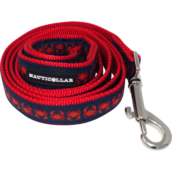 Maryland Crab Nautical Nylon Ribbon Dog Leash