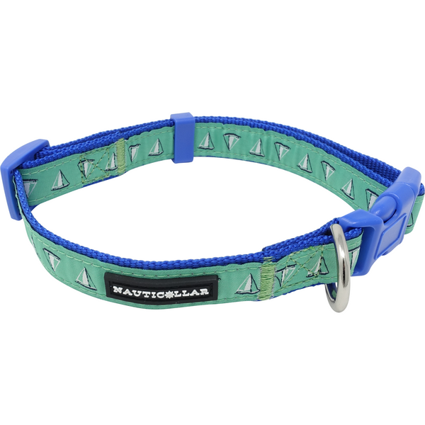 Sailboat Adjustable Embroidered Nylon Dog Collar