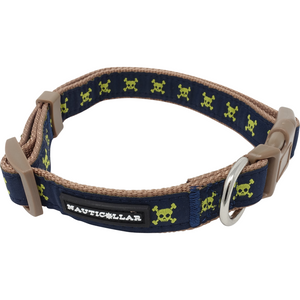 Jolly Pawger™ Skull and Crossbone Jolly Pawger Adjustable Pirate Nylon Ribbon Dog Collar
