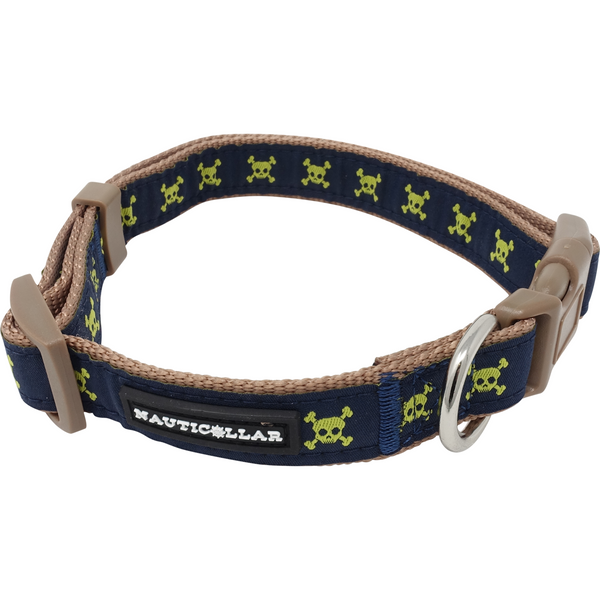 Jolly Pawger™ Skull and Crossbones Jolly Pawger Adjustable Pirate Embroidered Nylon Dog Collar