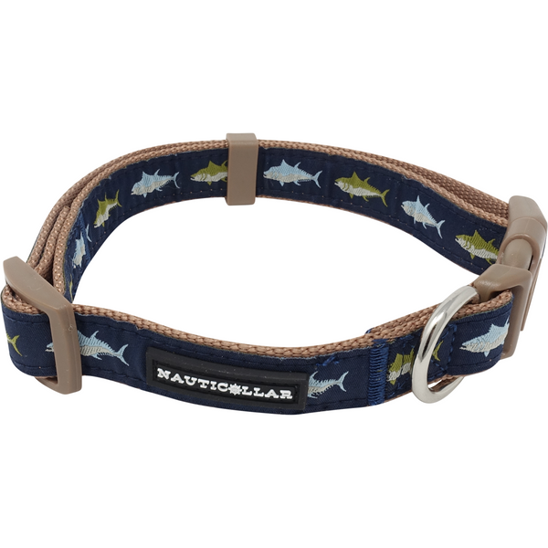 Fish Adjustable Embroidered Nylon Dog Collar