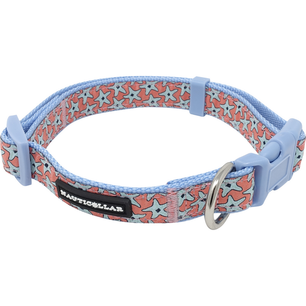 Starfish Adjustable Embroidered Nylon Dog Collar