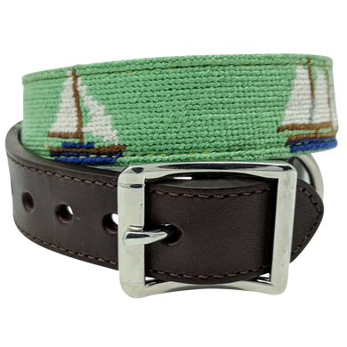 Nauticollar Nautical Ship Needlepoint Dog Collar
