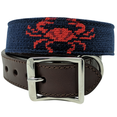 Nautical Crab Needlepoint Dog Collar by Nauticollar