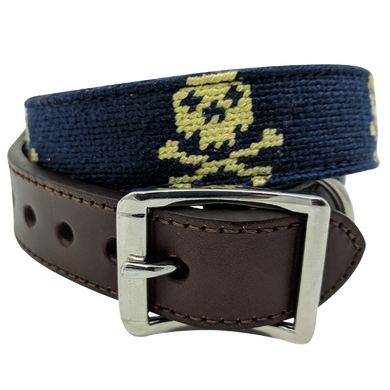 Nauticollar Jolly Pawger Skull and Crossbones Needlepoint Dog Collar