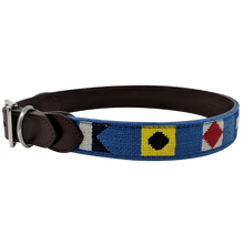 Nautical Flag Needlepoint Dog Collar Left