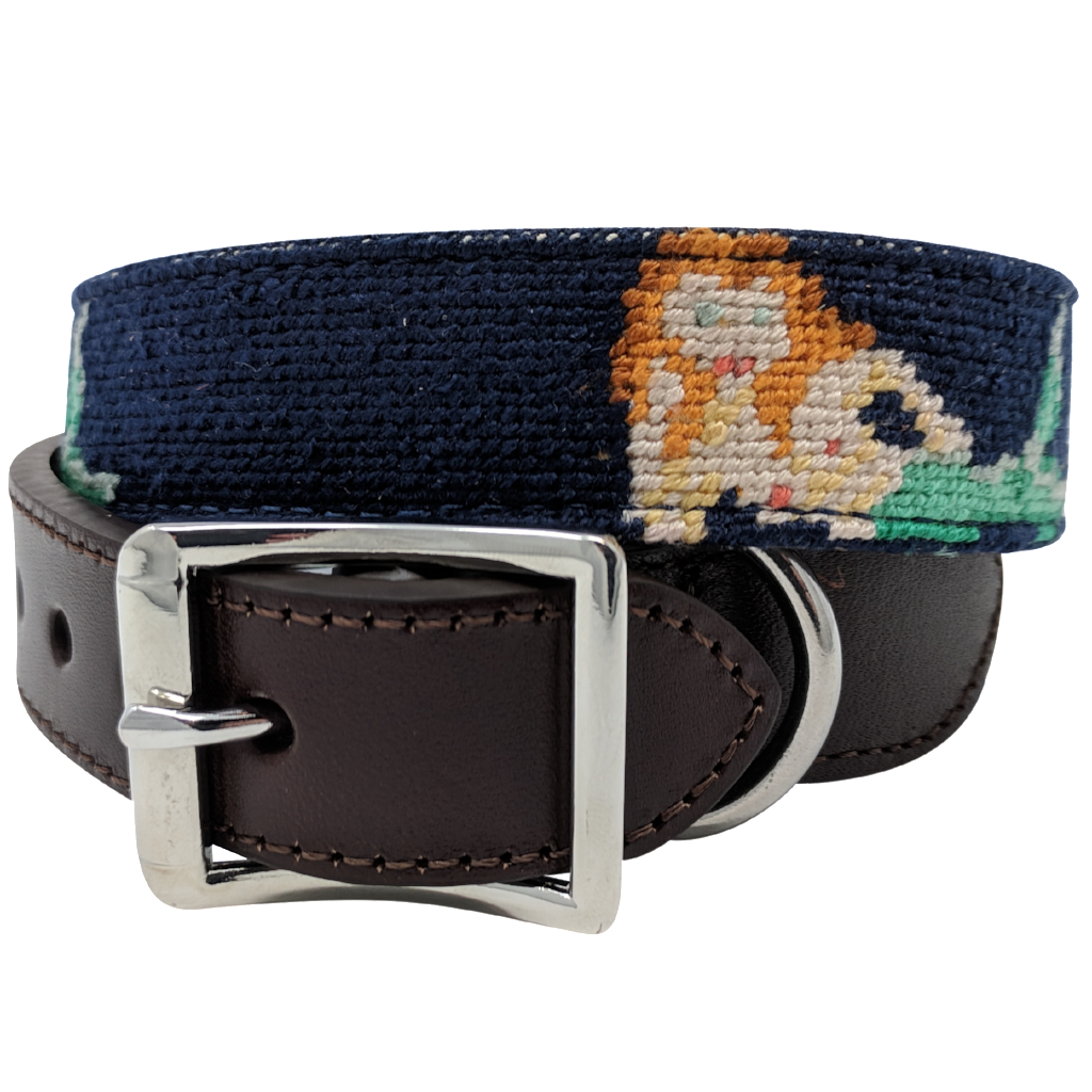 Mermaid Nautical Needlepoint Dog Collar by Nauticollar